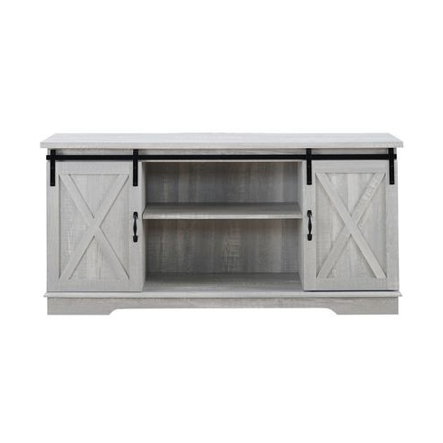 """Stone Gray Farmhouse Sliding Barn Door 58"""" Tv Stand 