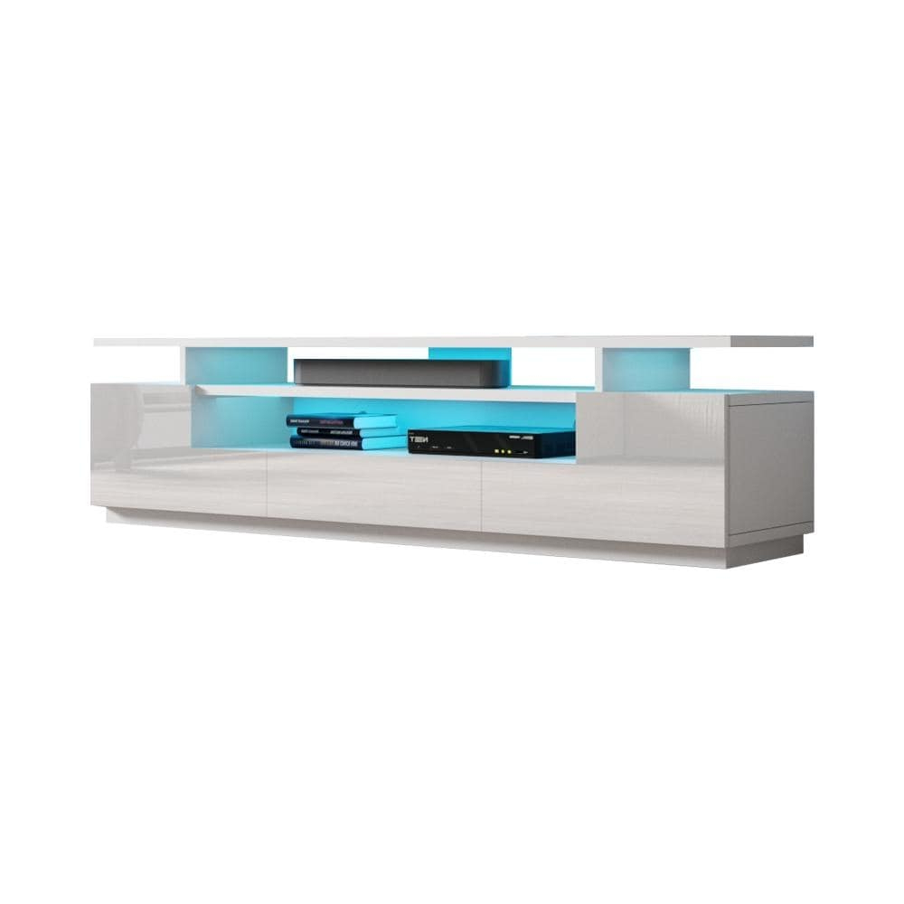 Strick & Bolton Sparkes 77 Inch High Gloss Tv Stand With With Ktaxon Modern High Gloss Tv Stands With Led Drawer And Shelves (View 17 of 20)