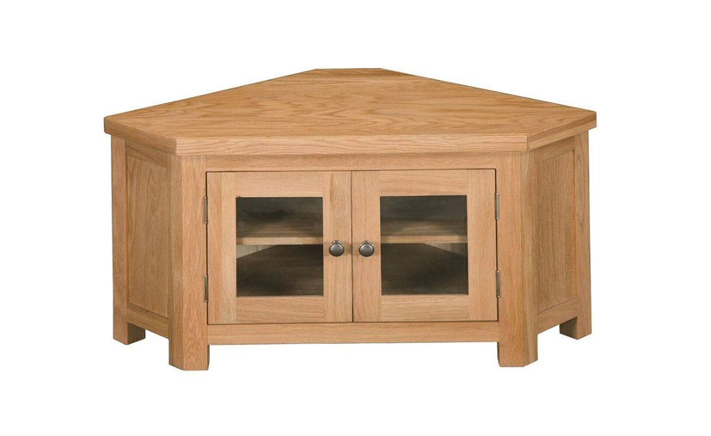 Suffolk Solid Oak Corner Glazed Tv Unit, Solid, American With Regard To Lucy Cane Cream Corner Tv Stands (View 7 of 20)