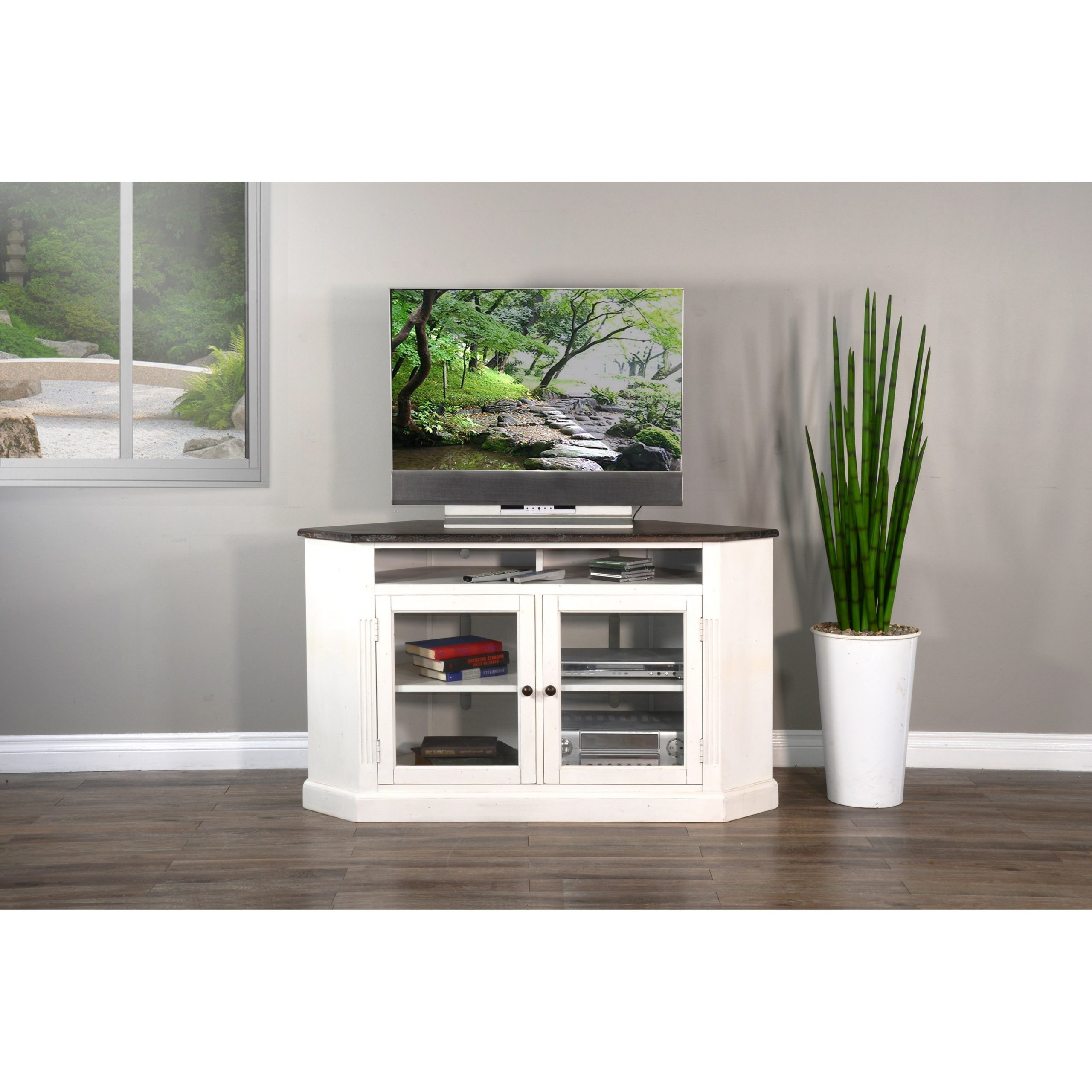 Sunny Designs 3635 Corner Tv Stand With Glass Doors With Regard To Modern 2 Glass Door Corner Tv Stands (View 13 of 20)