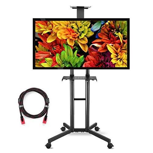 Suptek Rolling Tv Cart Mobile Tv Mount Stand Regarding Mount Factory Rolling Tv Stands (View 10 of 20)