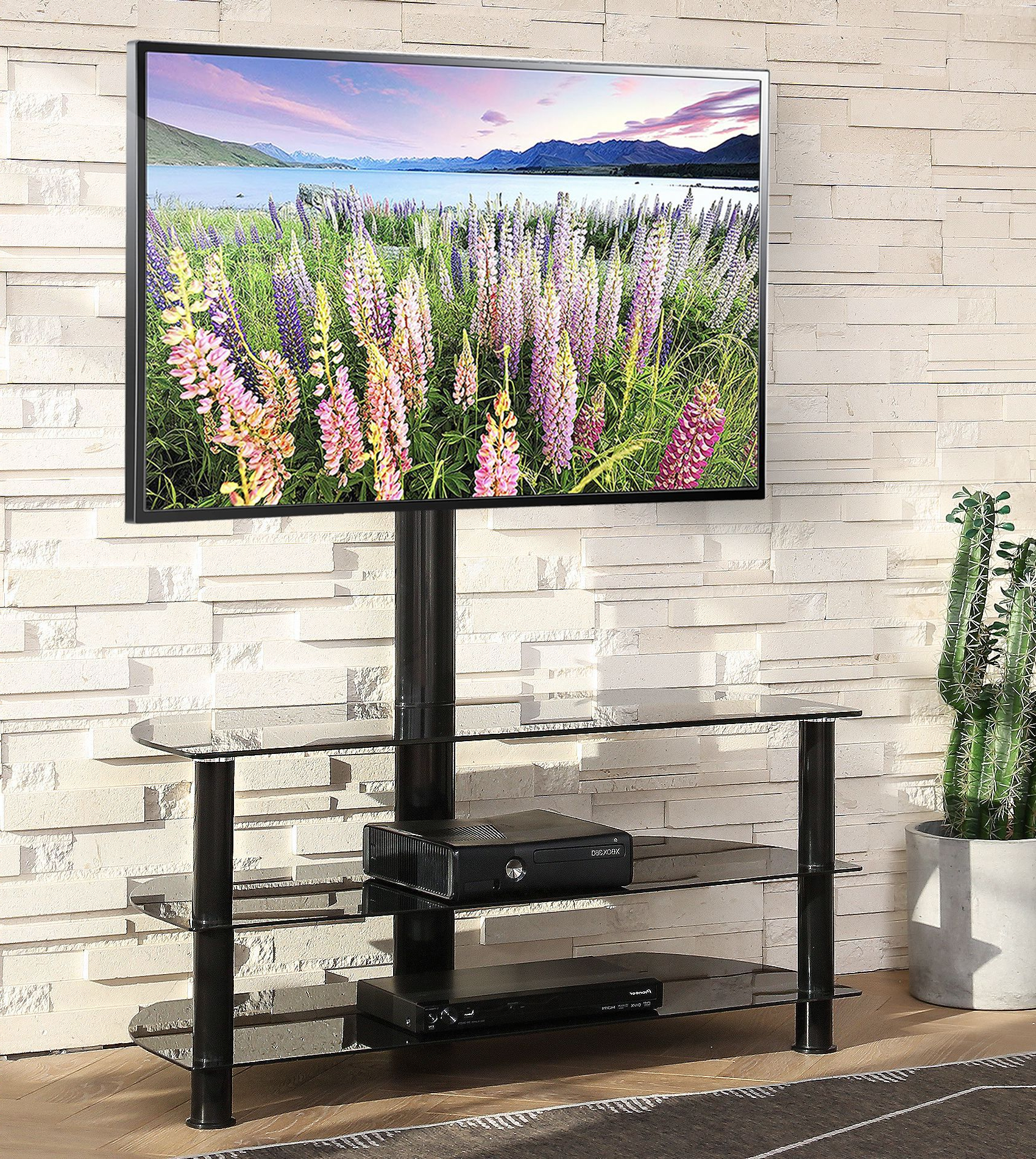 Swivel Floor Tv Stand With Mount, Height Adjustable 3 In 1 Throughout Modern Floor Tv Stands With Swivel Metal Mount (View 6 of 20)