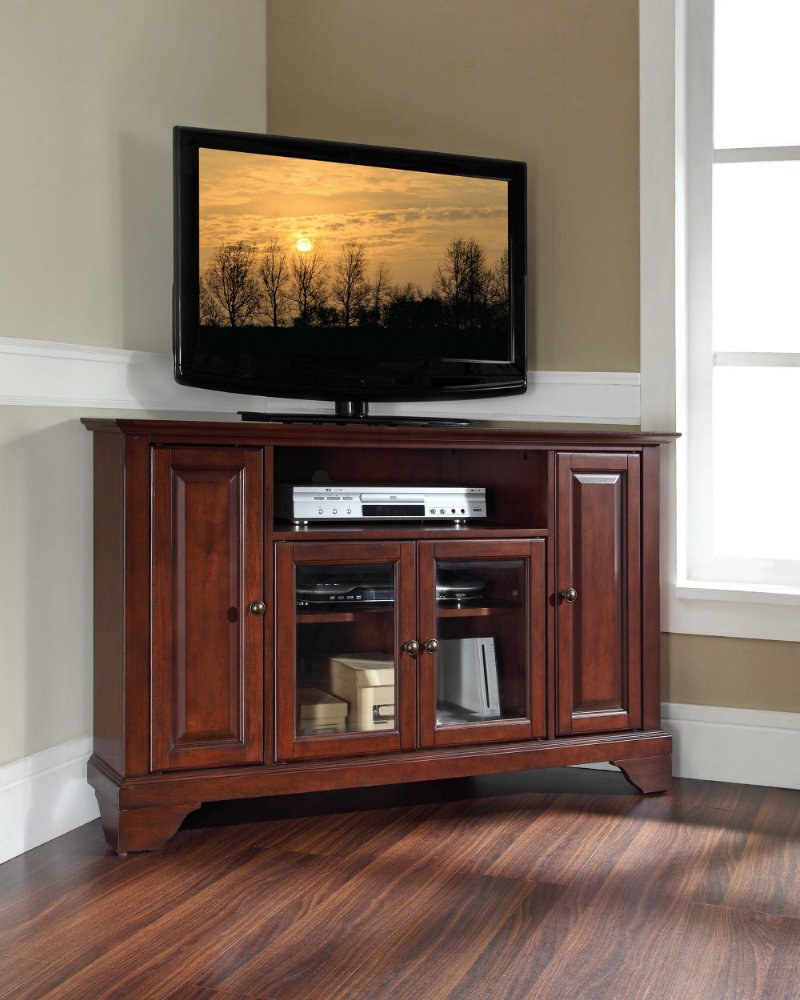 Tall Corner Tv Stand: Designs And Images – Homesfeed Intended For Modern 2 Glass Door Corner Tv Stands (View 8 of 20)