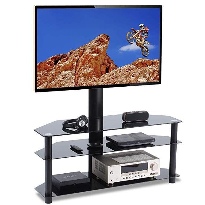 Tavr Swivel Floor Tv Stand With Mount 3 In 1 Flat Panel In Swivel Floor Tv Stands Height Adjustable (View 7 of 20)