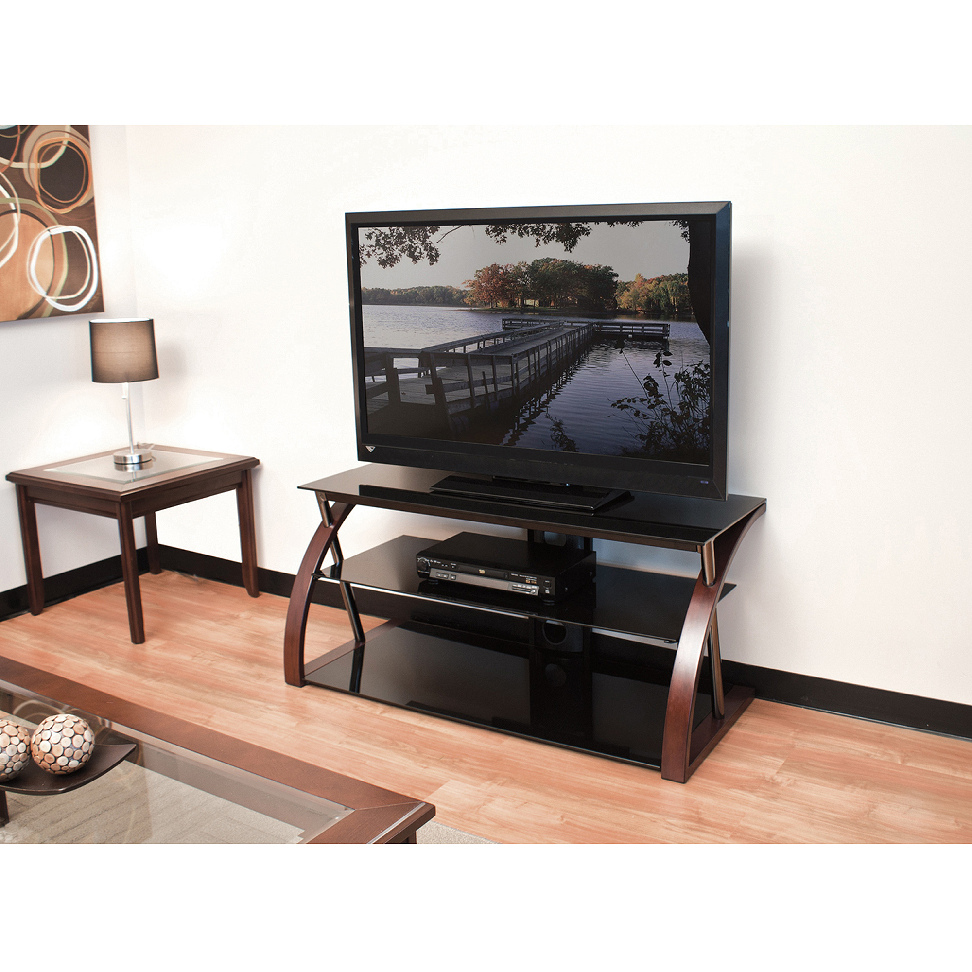 """Techcraft 48"""" Wood, Metal And Glass Tv Stand For Tvs Up To With Spellman Tv Stands For Tvs Up To 55"""" (View 14 of 20)"""