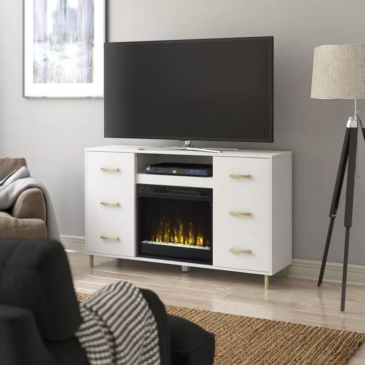"""Tessio Tv Stand For Tvs Up To 65"""" With Electric Fireplace For Rickard Tv Stands For Tvs Up To 65"""" With Fireplace Included (View 7 of 20)"""