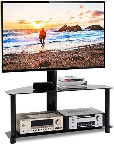 The Perfect 5rcom Floor Tv Stand With Swivel Mount And Within Floor Tv Stands With Swivel Mount And Tempered Glass Shelves For Storage (View 17 of 20)