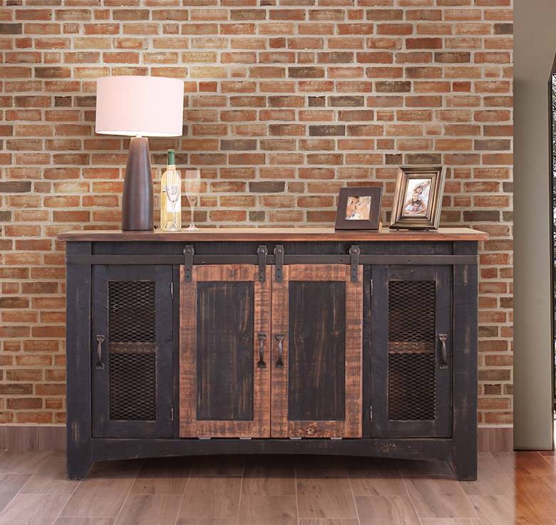 The Pueblo Black Barn Door Tv Stand Is Solid Wood And Rustic (View 11 of 20)