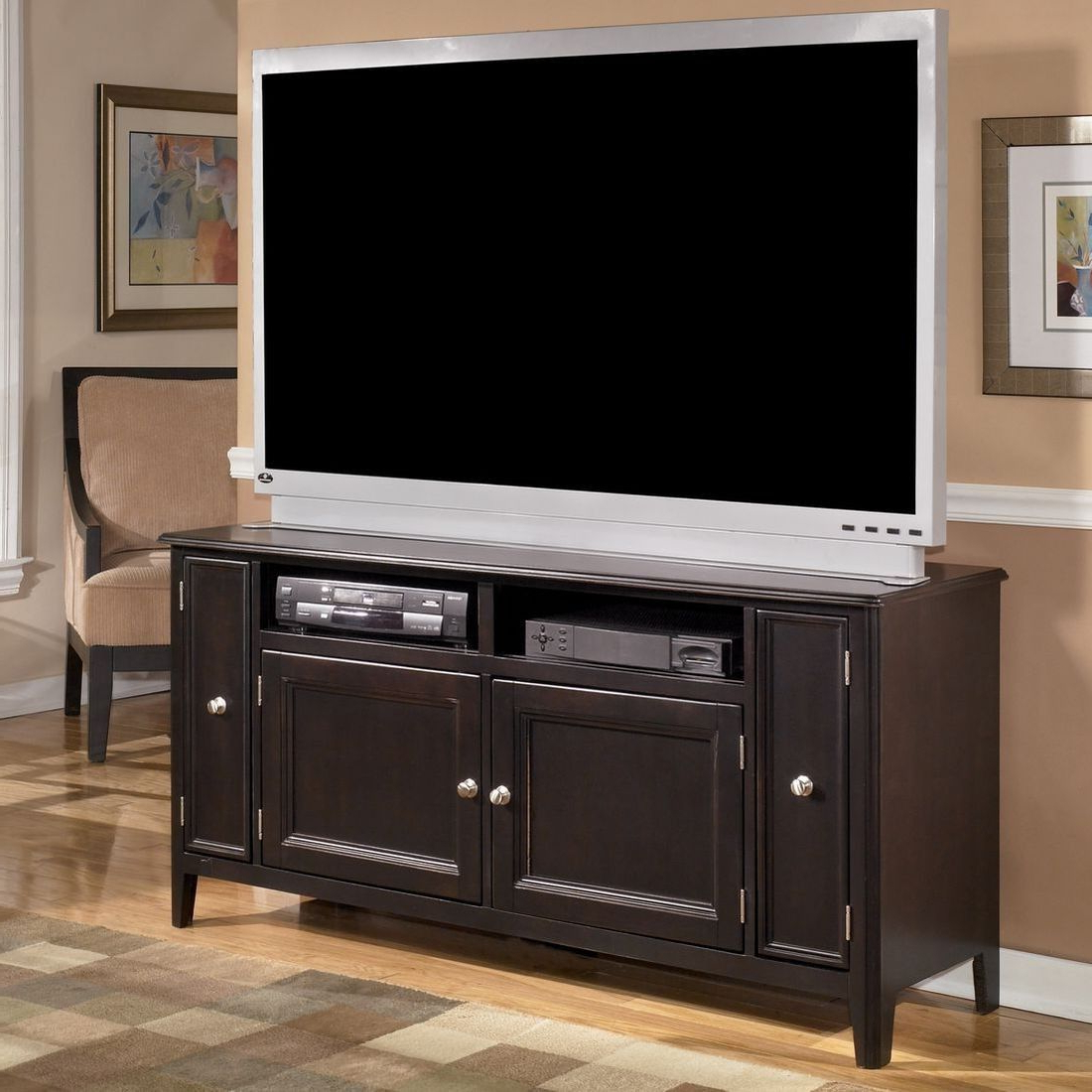 """The Sleek Styling Of The Contemporary """"carlyle With Regard To Wide Tv Stands Entertainment Center Columbia Walnut/black (View 13 of 20)"""