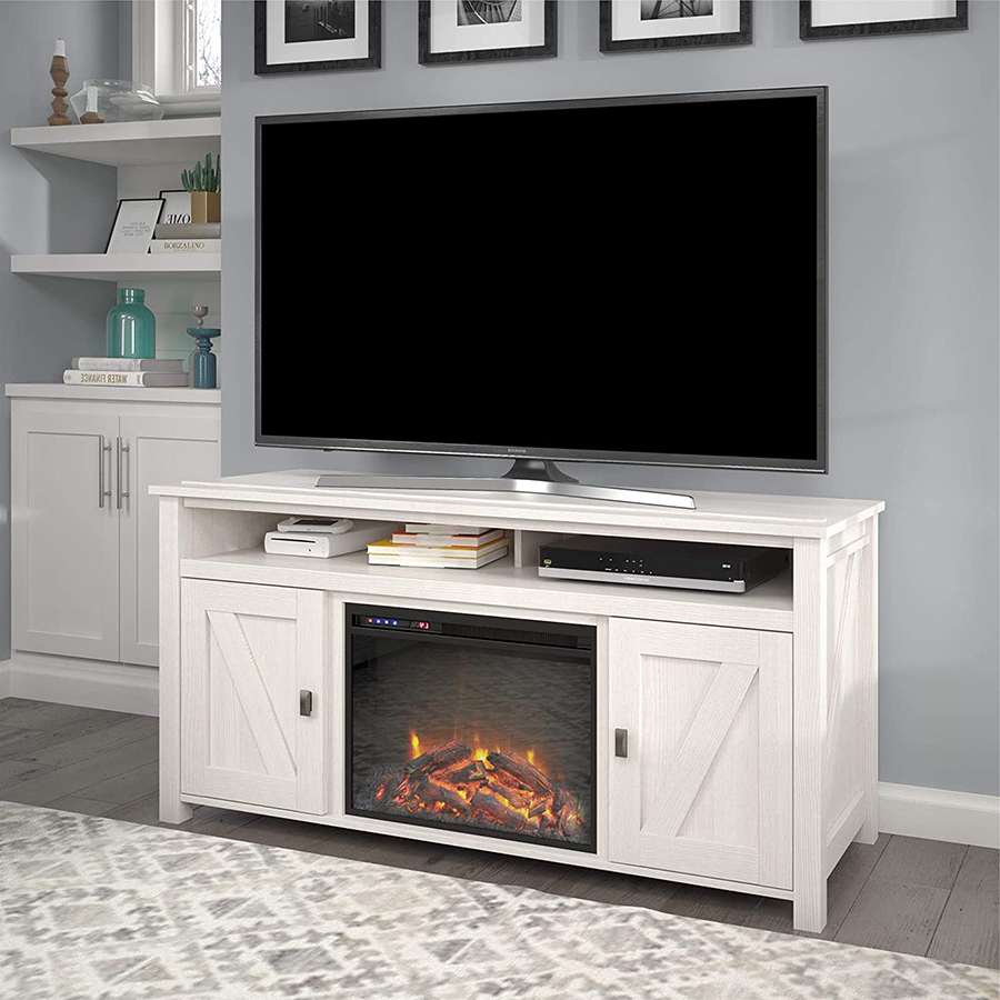 The Top 10 Best Electric Fireplace Tv Stands Of 2021 Regarding Claudia Brass Effect Wide Tv Stands (View 15 of 20)