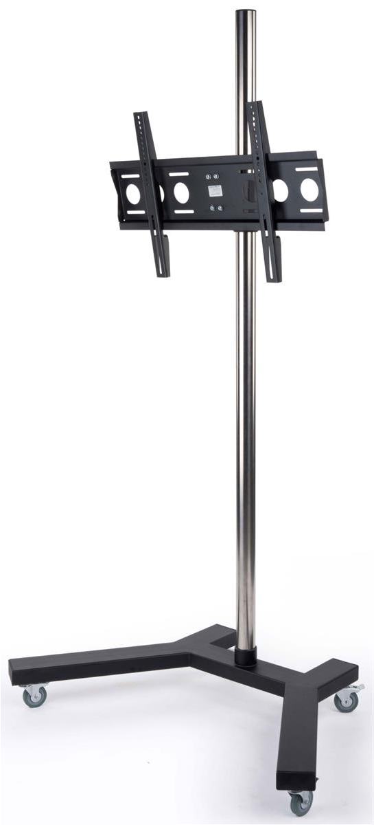 This Monitor Stand Has Lockable Casters For A Stable With Regard To Rfiver Modern Tv Stands Rolling Wheels Black Steel Pole (View 6 of 20)