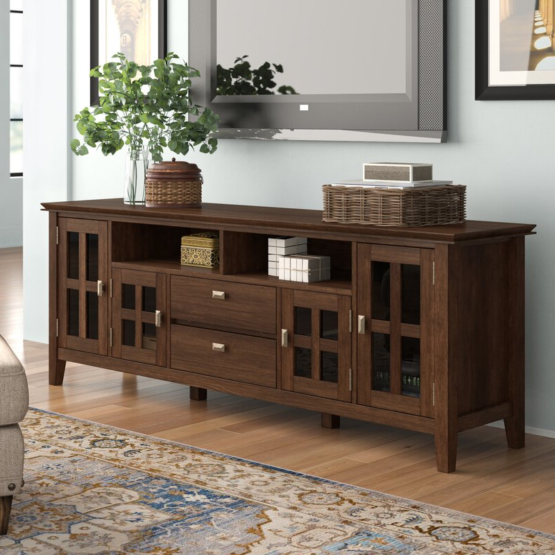 """Three Posts Gosport Solid Wood Tv Stand For Tvs Up To 80 Throughout Solid Wood Tv Stands For Tvs Up To 65"""" (View 16 of 20)"""
