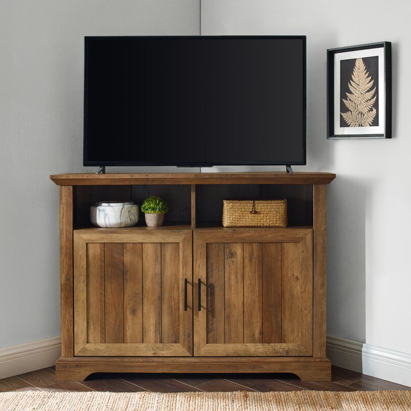 Three Posts Tomball Corner Tv Stand For Tvs Up To 48 Inside Conrad Metal/glass Corner Tv Stands (View 4 of 20)