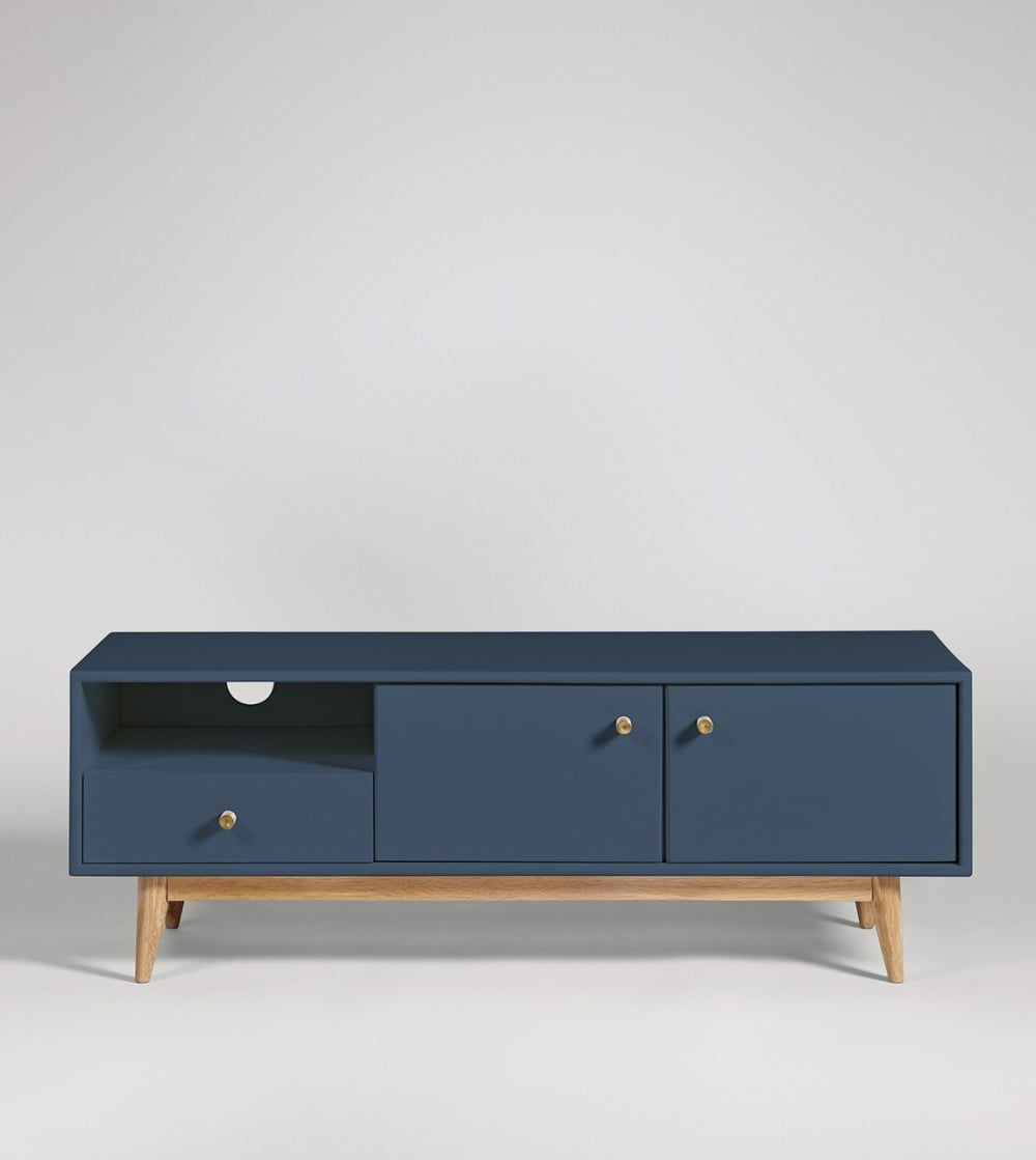 Thurlestone China Blue Tv Stand   Swoon   Living Room Tv Inside Bromley Oak Corner Tv Stands (View 5 of 20)