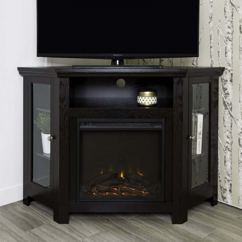 """Tieton Corner Tv Stand For Tvs Up To 50"""" With Electric Regarding Neilsen Tv Stands For Tvs Up To 50"""" With Fireplace Included (View 6 of 20)"""