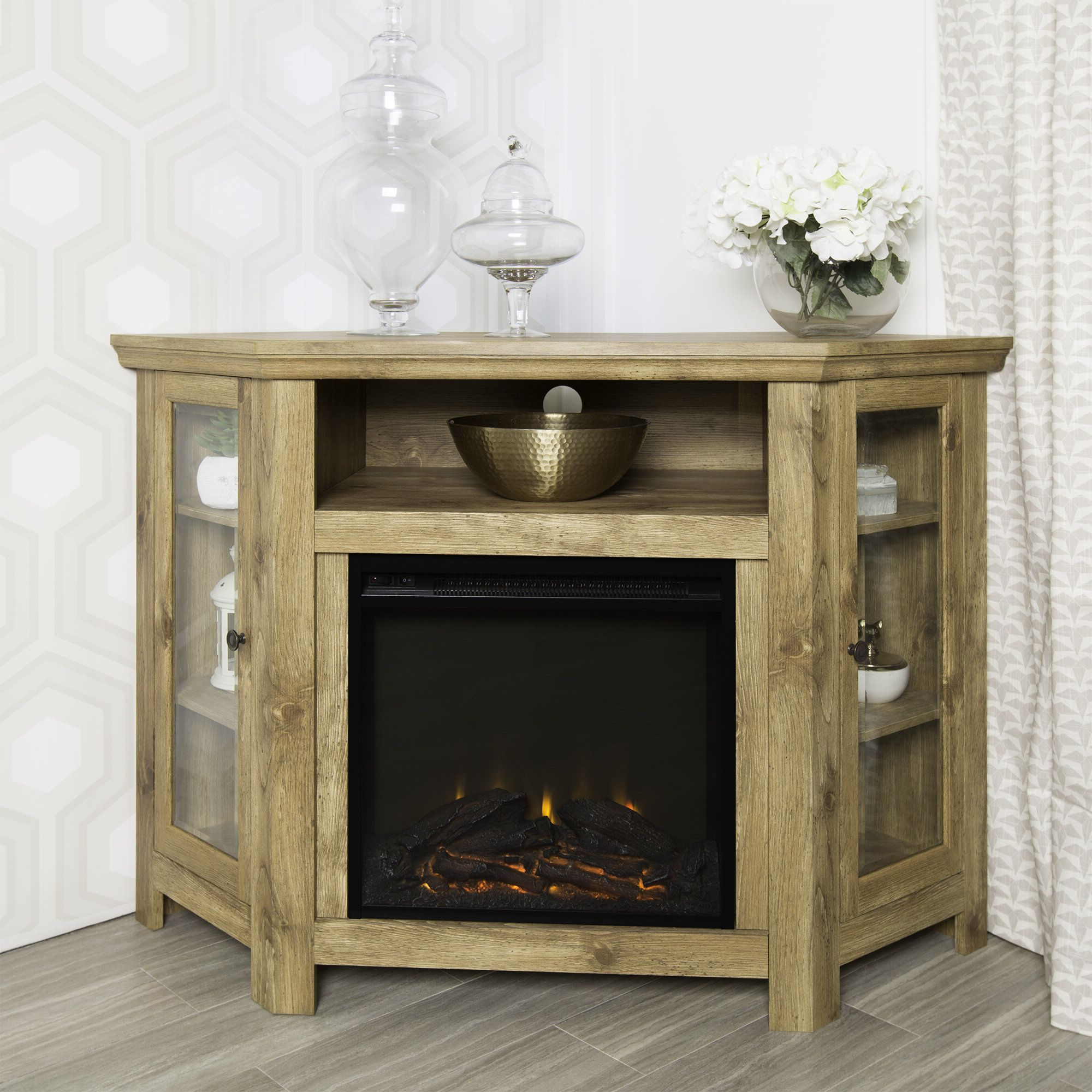 """Tieton Corner Tv Stand For Tvs Up To 50"""" With Electric Within Neilsen Tv Stands For Tvs Up To 50"""" With Fireplace Included (View 17 of 20)"""