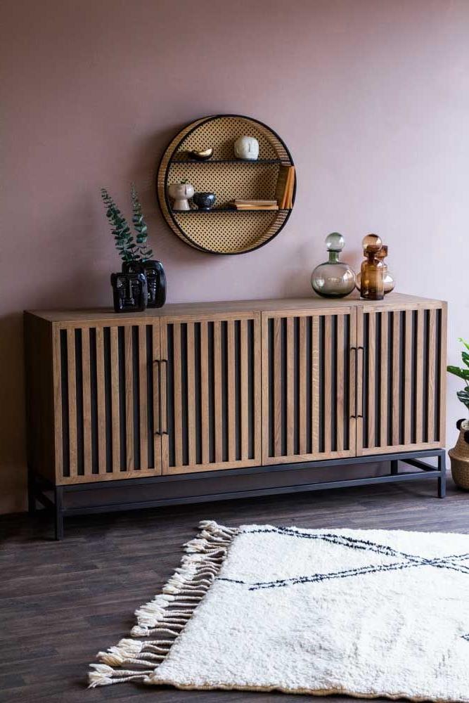 Timber Strips Sideboard | Sideboard Styles, Wooden Door Regarding Woven Paths Franklin Grooved Two Door Tv Stands (View 14 of 20)