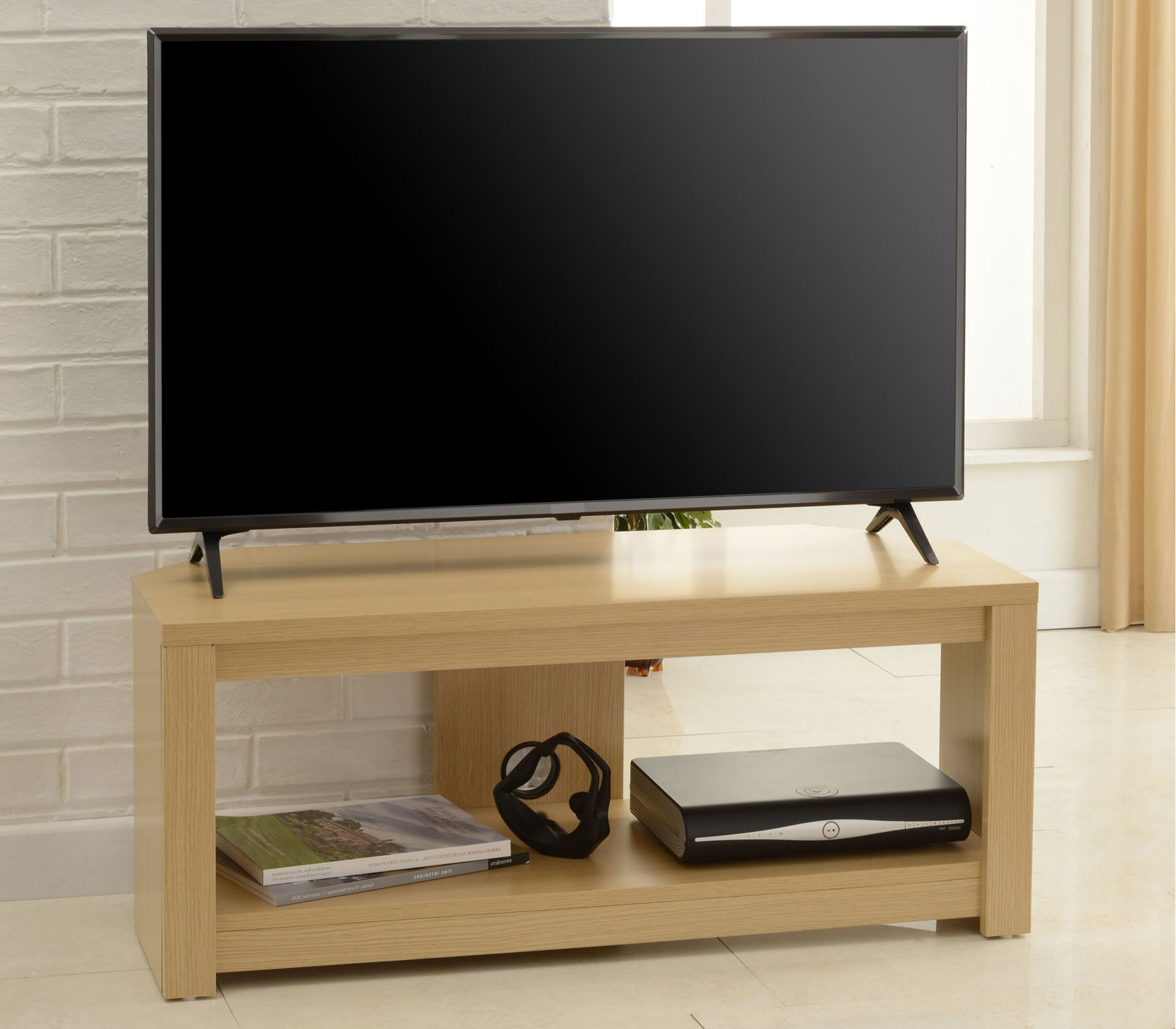 """Tnw Bos 1200 Oak Boston Corner Tv Stand In Oak – For 60"""" Tvs For Boston Tv Stands (View 5 of 20)"""