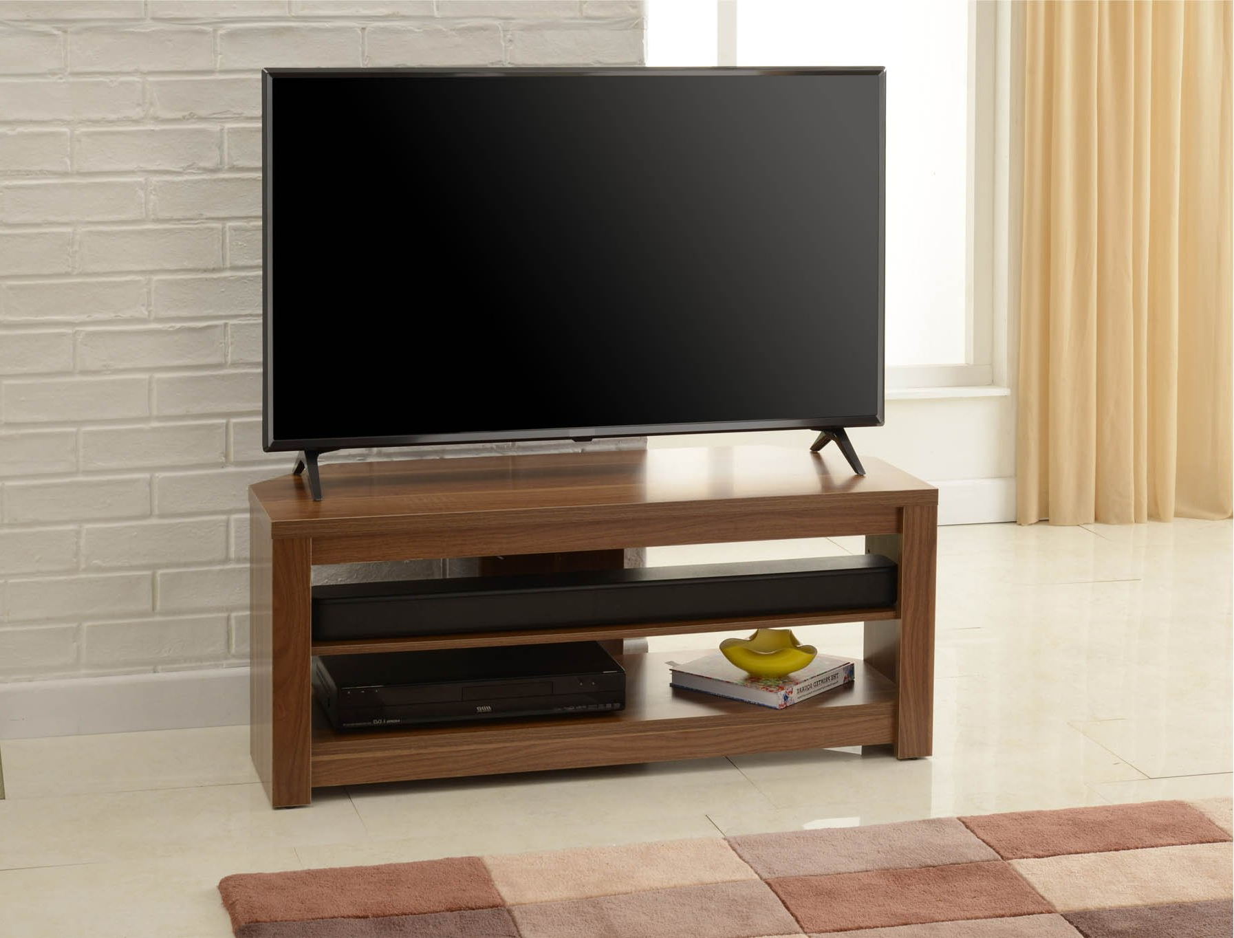 """Tnw Memphis Tv Stand Walnut Corner For Up To 50 Inch Tvs Intended For Mission Corner Tv Stands For Tvs Up To 38"""" (View 4 of 20)"""