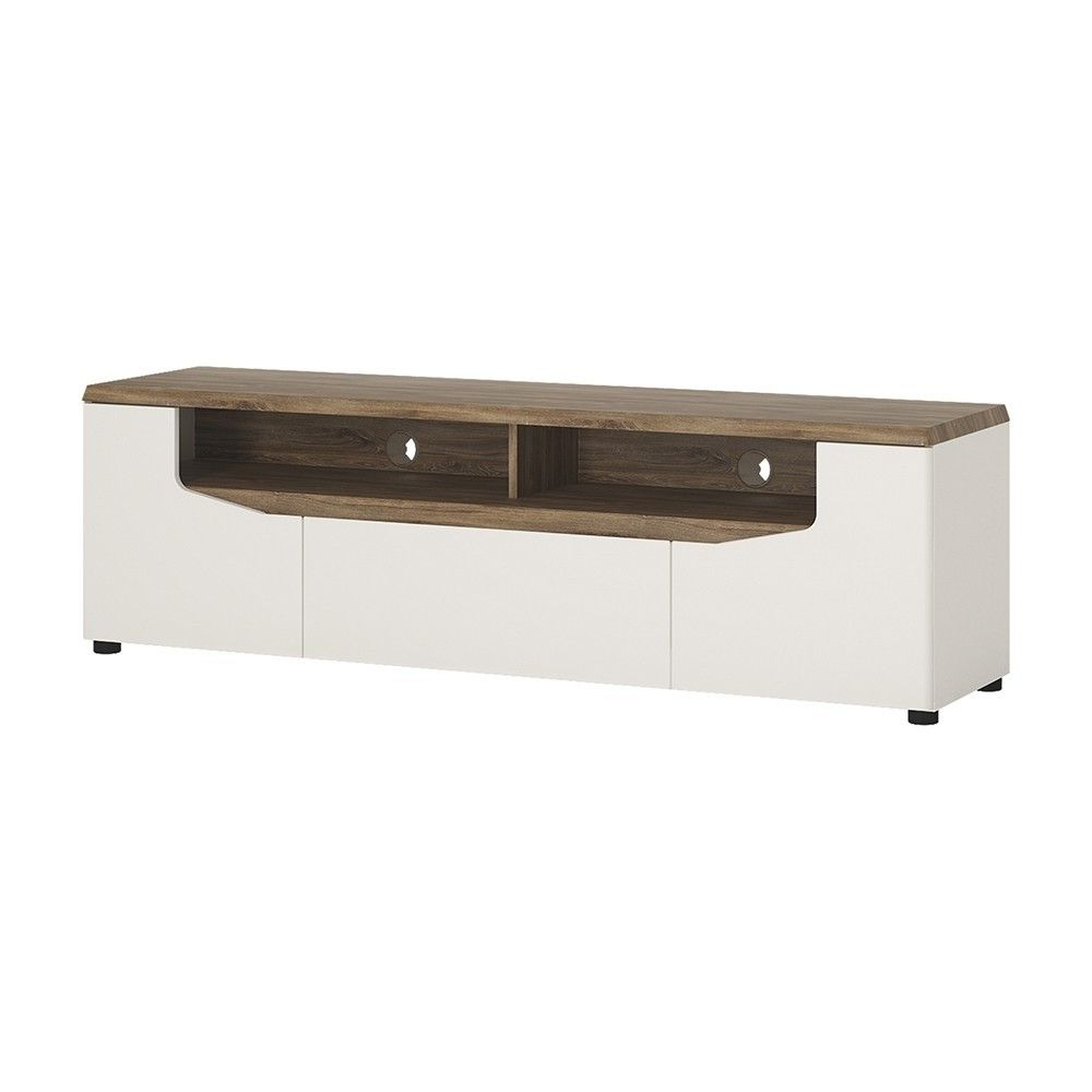 """Toledo White Gloss & Oak Wide 2 Door 1 Drawer Tv Unit For Intended For Basie 2 Door Corner Tv Stands For Tvs Up To 55"""" (View 11 of 20)"""