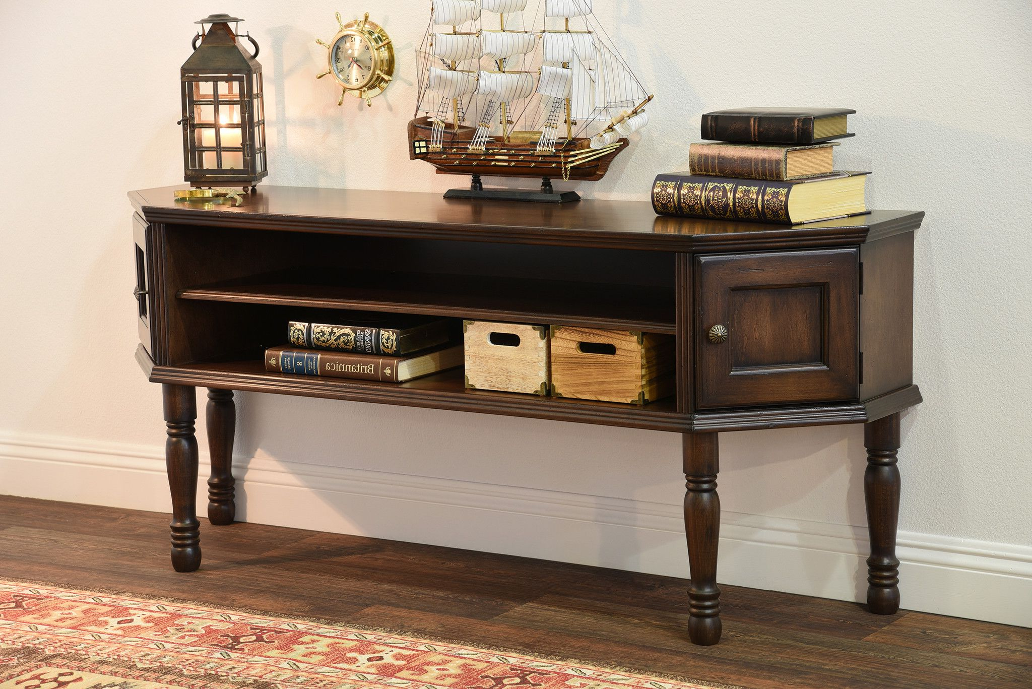 Traditional Brown Captain's Credenza – Vintage – Dark With Whalen Shelf Tv Stands With Floater Mount In Weathered Dark Pine Finish (View 13 of 20)