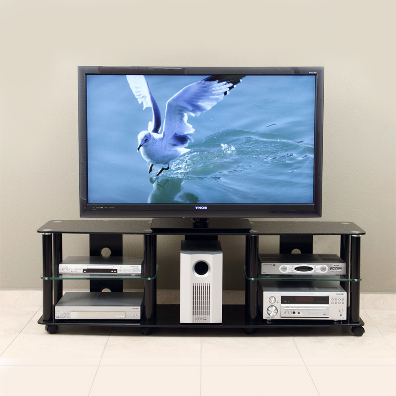 """Transdeco Black Glass And Metal Tv Stand For Up To 70in Inside Glass Tv Stands For Tvs Up To 70"""" (View 12 of 20)"""