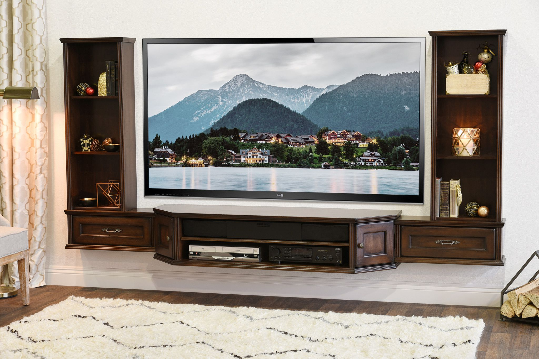 Transitional Wall Mount Tv Stand – Vintage – 3 Piece Pertaining To Whalen Shelf Tv Stands With Floater Mount In Weathered Dark Pine Finish (View 9 of 20)