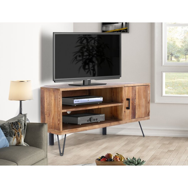 """Trent Austin Design® Abbott Solid Wood Corner Tv Stand For Pertaining To Maubara Tv Stands For Tvs Up To 43"""" (View 3 of 20)"""