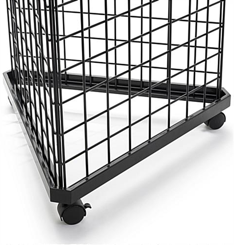 Triangle Gridwall Display Base   For 3 Wire Panels Within Large Rolling Tv Stands On Wheels With Black Finish Metal Shelf (View 17 of 20)