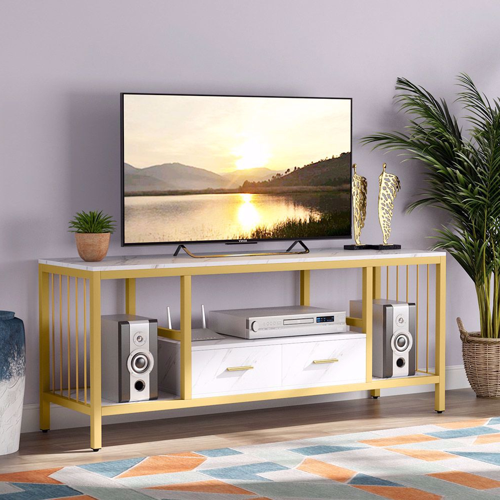 Tribesigns Gold Tv Stand With Drawers, 55 Inches Modern For Manhattan 2 Drawer Media Tv Stands (View 3 of 20)
