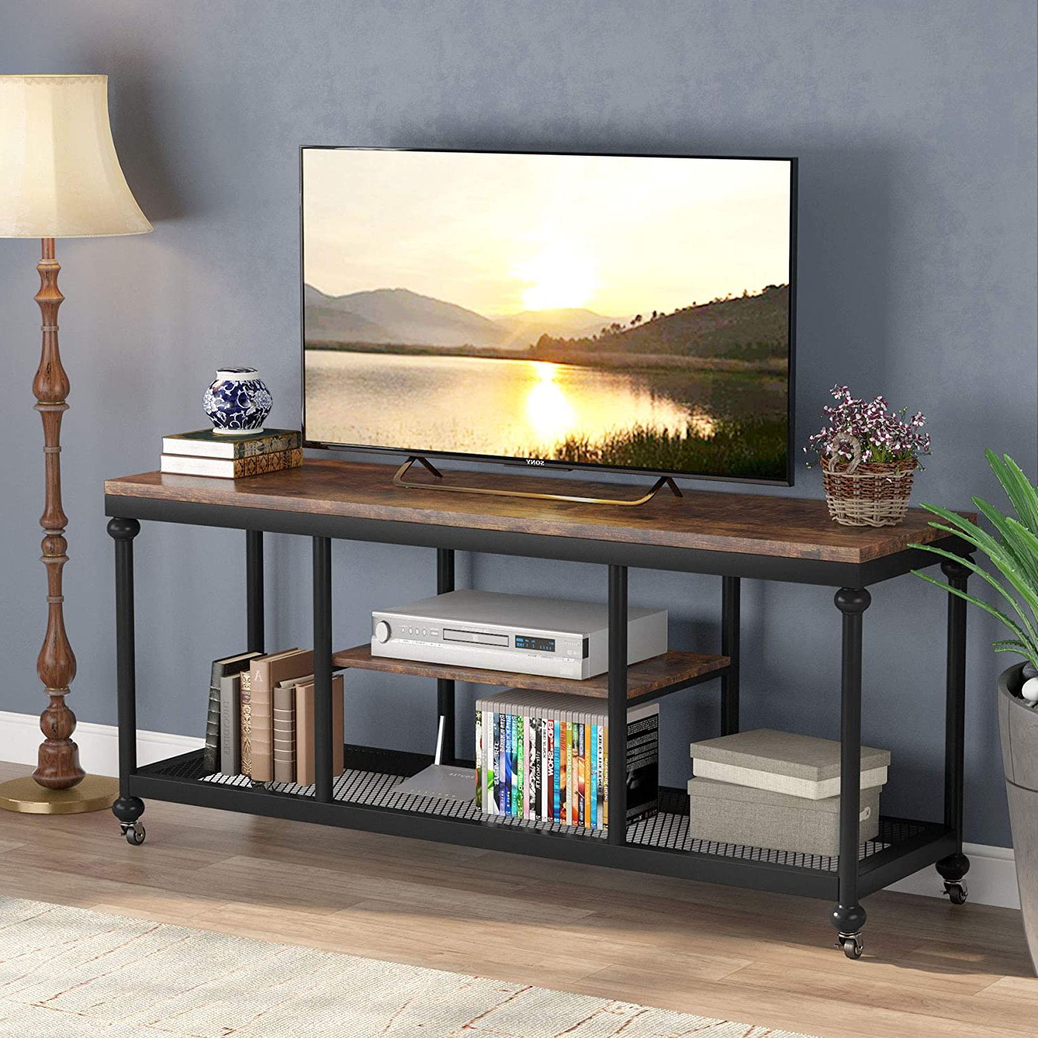 """Tribesigns Tv Stand, Console Media Stand With Rustic Pipe Pertaining To Ahana Tv Stands For Tvs Up To 60"""" (View 12 of 20)"""