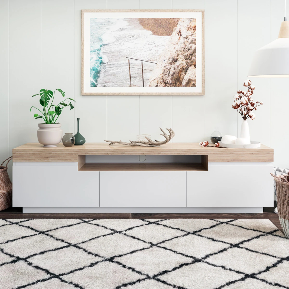Tv Cabinet Entertainment Unit (180cm Coogee Collection Pertaining To Scandi 2 Drawer White Tv Media Unit Stands (View 10 of 20)