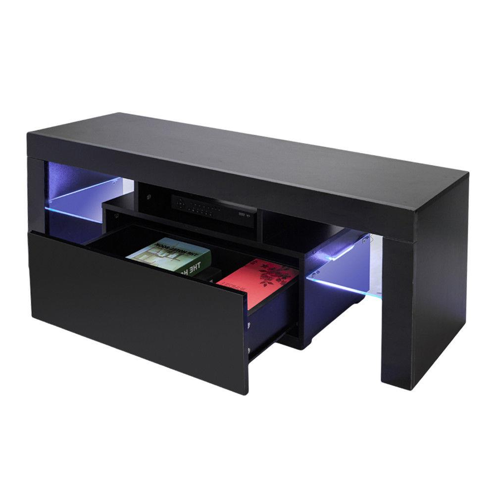 Tv Cabinet Entertainment Unit Stand Blue Led Gloss Inside Solo 200 Modern Led Tv Stands (View 14 of 20)
