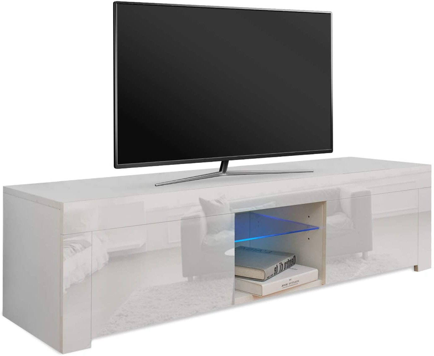 Tv Cabinet Entertainment Unit Stand Blue Led Gloss Pertaining To Solo 200 Modern Led Tv Stands (View 3 of 20)