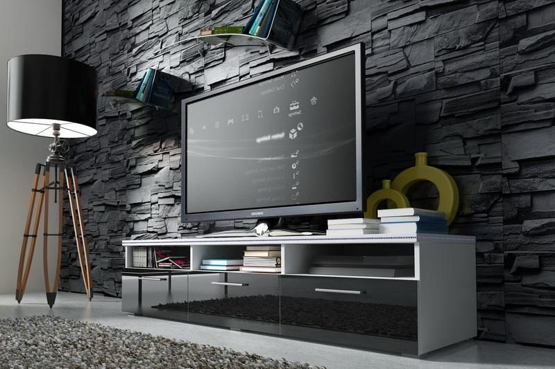 Tv Cabinet Rtv1 High Gloss Door Led Lights | Tv Cabinets Within Zimtown Tv Stands With High Gloss Led Lights (View 17 of 20)