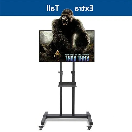"""Tv Cart With Tilt Mount And Locking Wheels For Most 37"""" 80 Regarding Rfiver Modern Tv Stands Rolling Wheels Black Steel Pole (View 3 of 20)"""