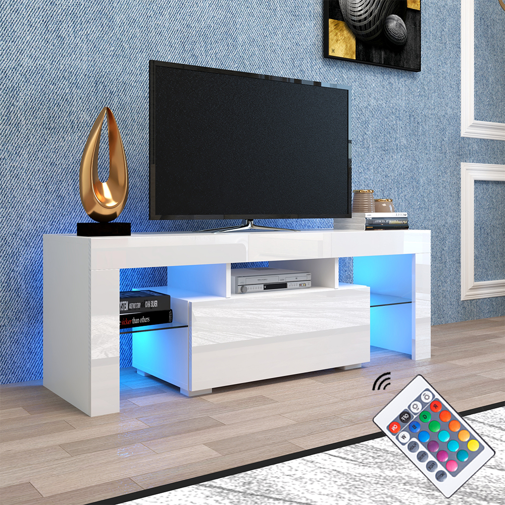 Tv Console Cabinet, Segmart Modern White Tv Stand With 12 Intended For Ktaxon Modern High Gloss Tv Stands With Led Drawer And Shelves (View 1 of 20)
