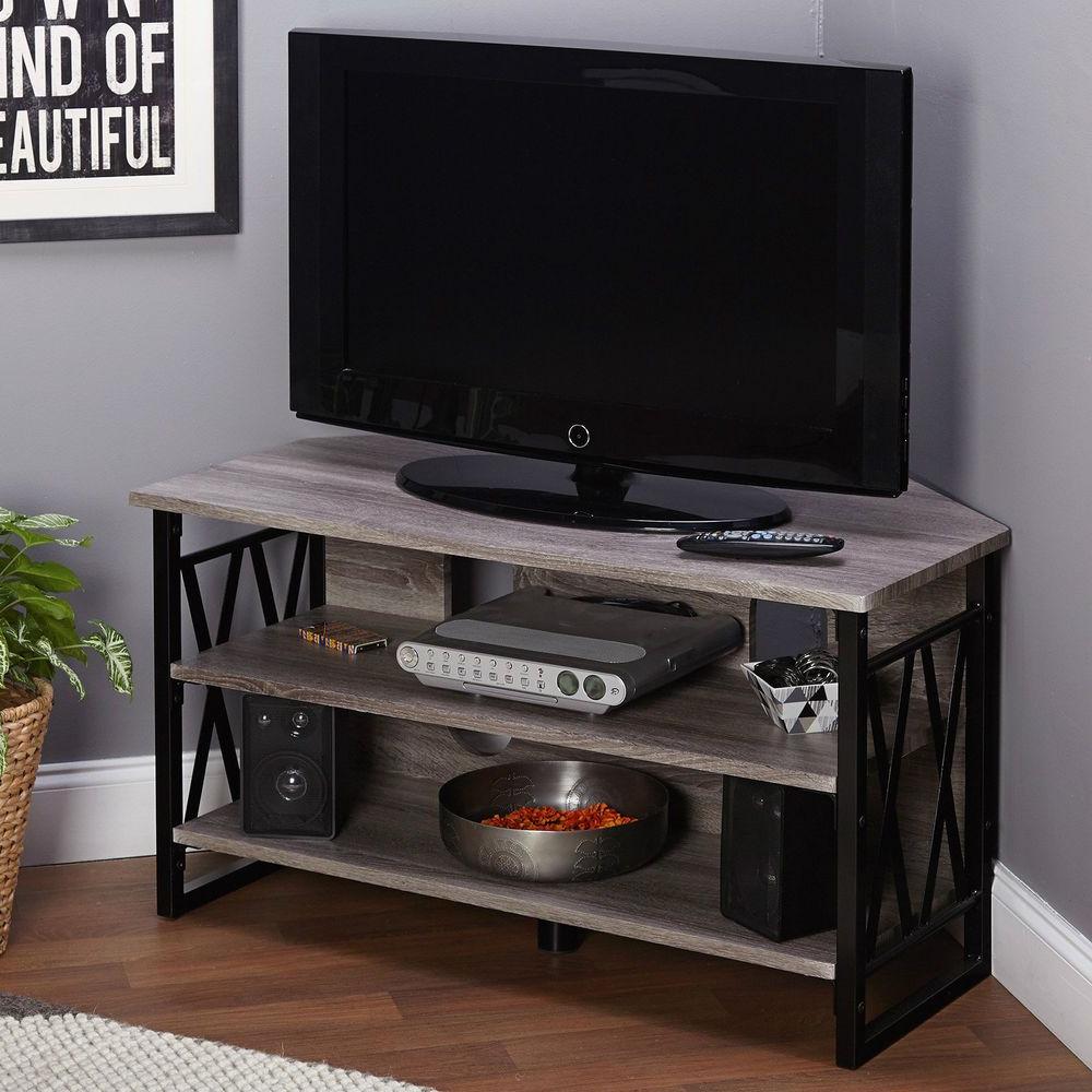 Tv Console Corner Stand Entertainment 2 Open Media Storage Regarding Corner Entertainment Tv Stands (View 8 of 20)
