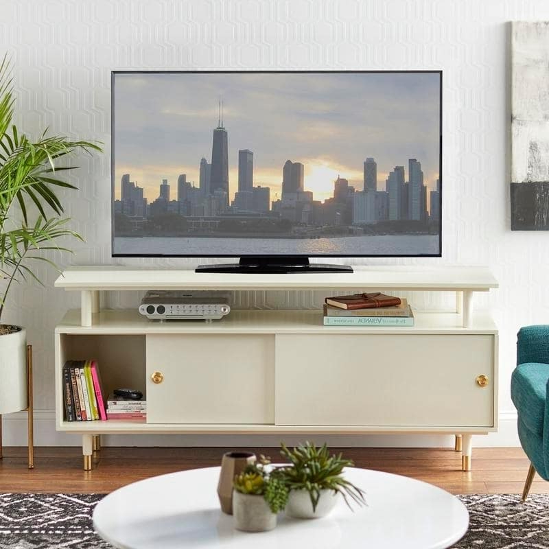 Tv Console Stand Mid Century Modern Design Entertainment Pertaining To Compton Ivory Extra Wide Tv Stands (View 6 of 20)