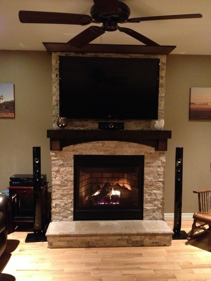 Tv On Stone Fireplace, Proportions Are Off But There Are Within Jackson Corner Tv Stands (View 18 of 20)