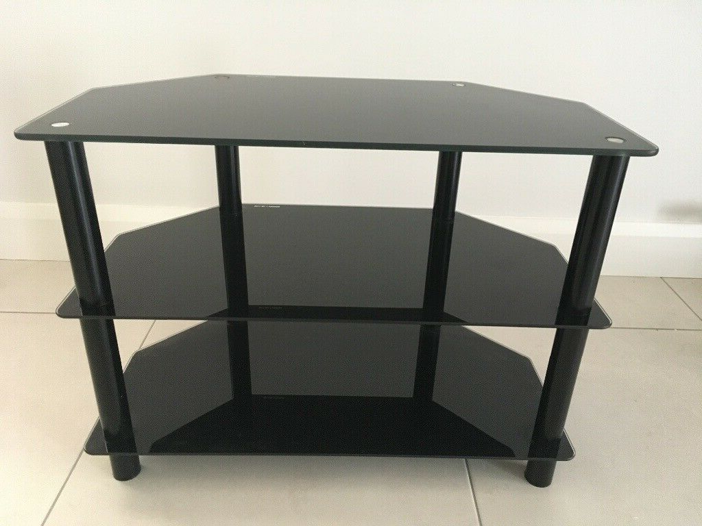 Tv Stand (black Glass) | In Four Winds, Belfast | Gumtree Intended For Rfiver Black Tabletop Tv Stands Glass Base (View 14 of 20)