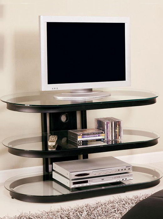 Tv Stand – Black Metal With Glass – Affordable Portables Throughout Tabletop Tv Stands Base With Black Metal Tv Mount (View 1 of 20)