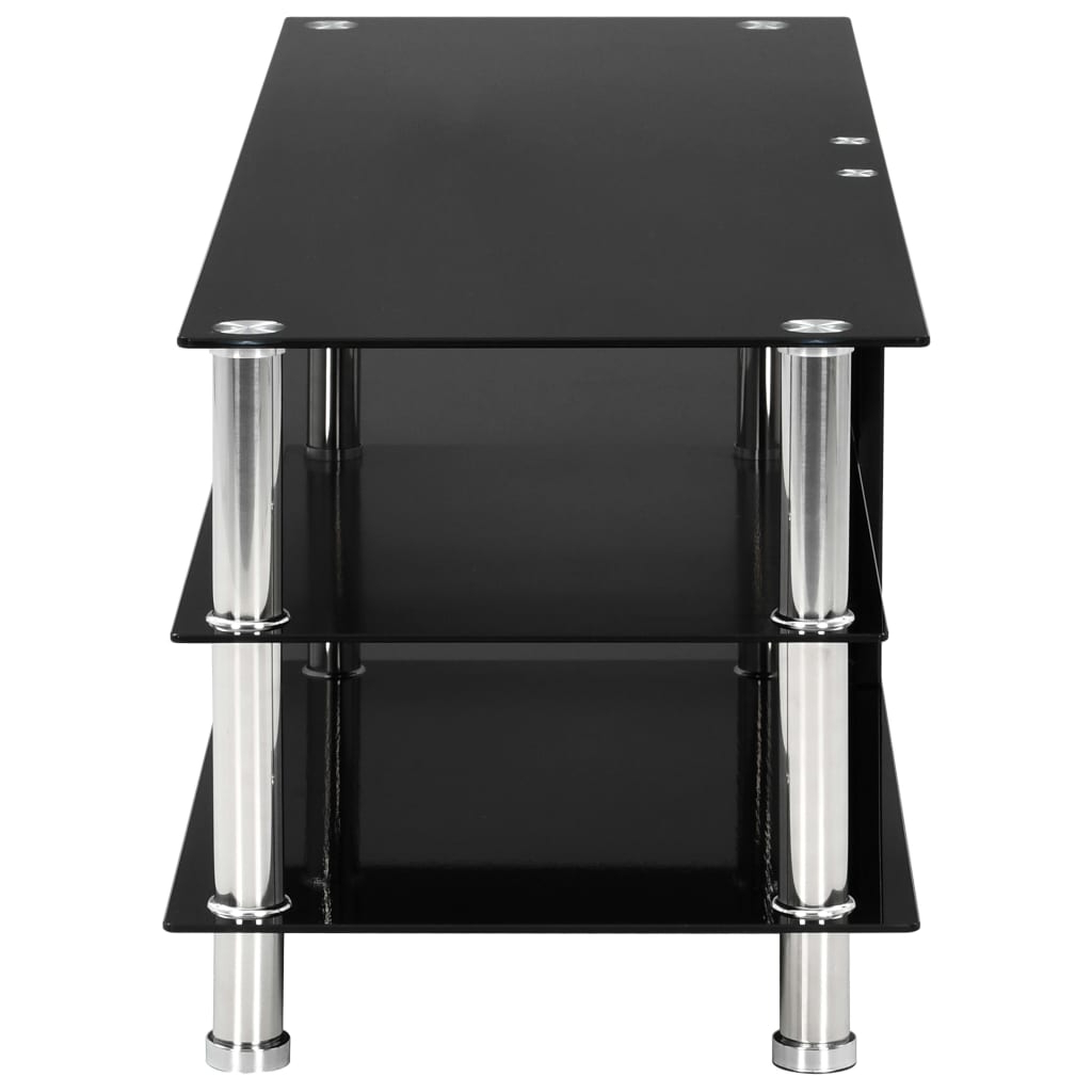 Tv Stand Black Modern Tempered Glass 2/3/4 Tier Wide With Within Tier Entertainment Tv Stands In Black (View 12 of 20)