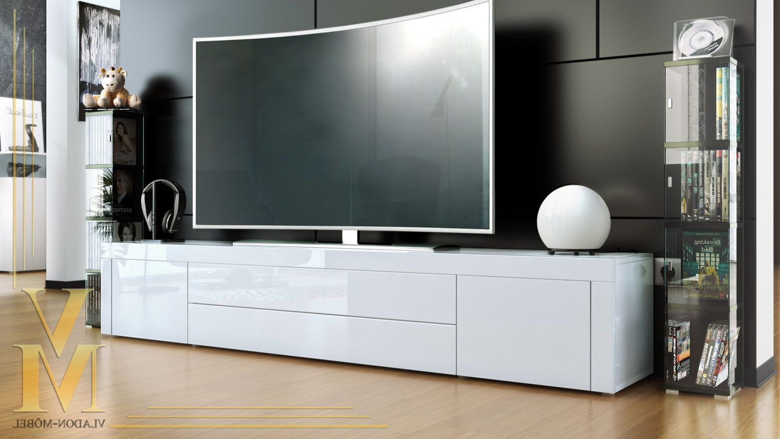 Tv Stand Board Unit Lowboard Cabinet La Paz White – High With Regard To High Glass Modern Entertainment Tv Stands For Living Room Bedroom (View 7 of 20)