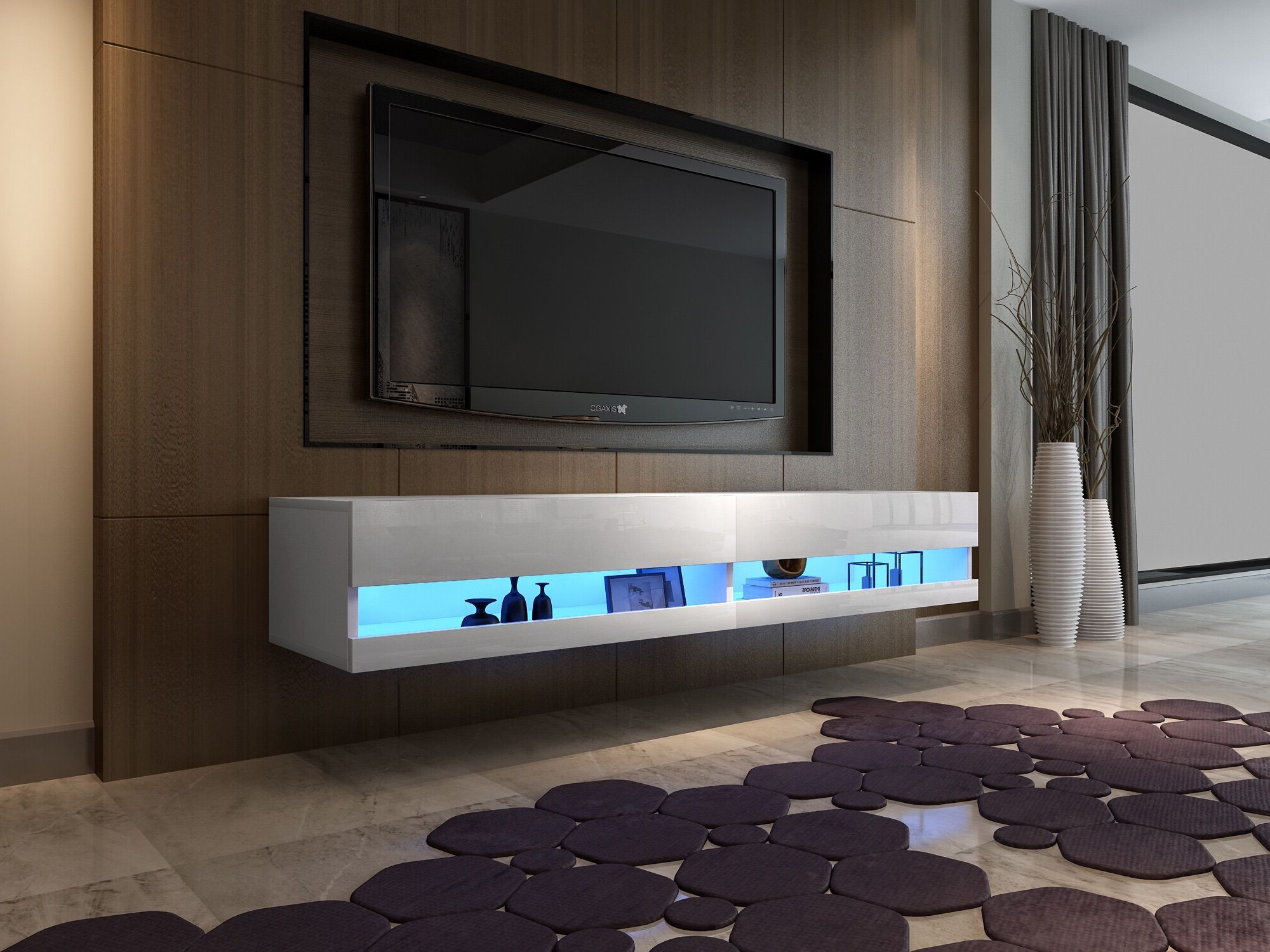 Tv Stand Cabinet 180cm High Gloss Led Lights Floating Wall For Galicia 180cm Led Wide Wall Tv Unit Stands (View 16 of 20)