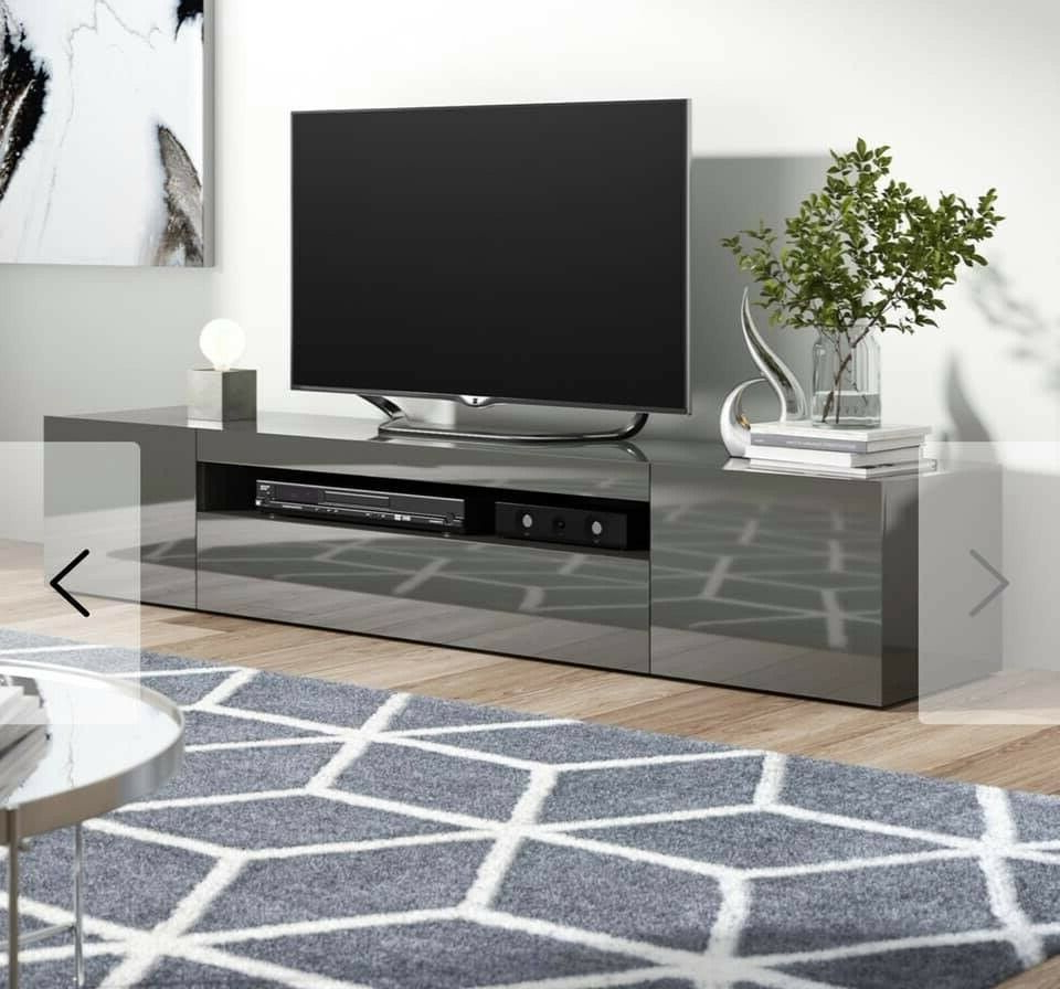 Tv Stand Cabinet Gloss Grey 200cm Wide   In Sheffield Within Delphi Grey Tv Stands (View 9 of 20)