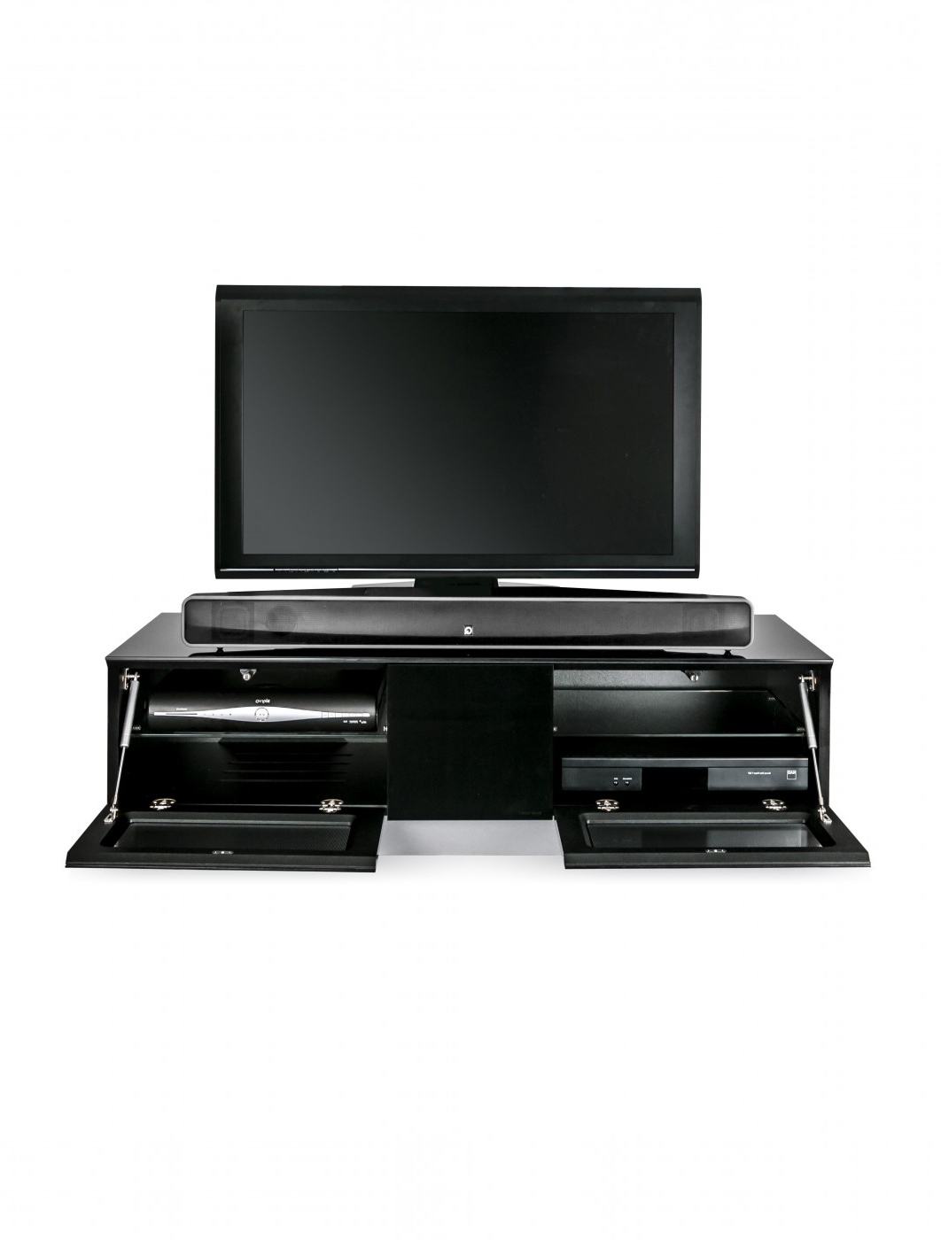 Tv Stand Element Modular Emtmod1250 Blk Tv Cabinet Pertaining To 57'' Tv Stands With Open Glass Shelves Gray & Black Finsh (View 8 of 20)