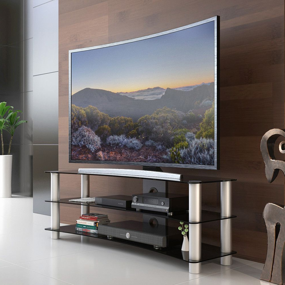 Tv Stand Entertainment Center Media Furniture Fit Curved With High Glass Modern Entertainment Tv Stands For Living Room Bedroom (View 4 of 20)