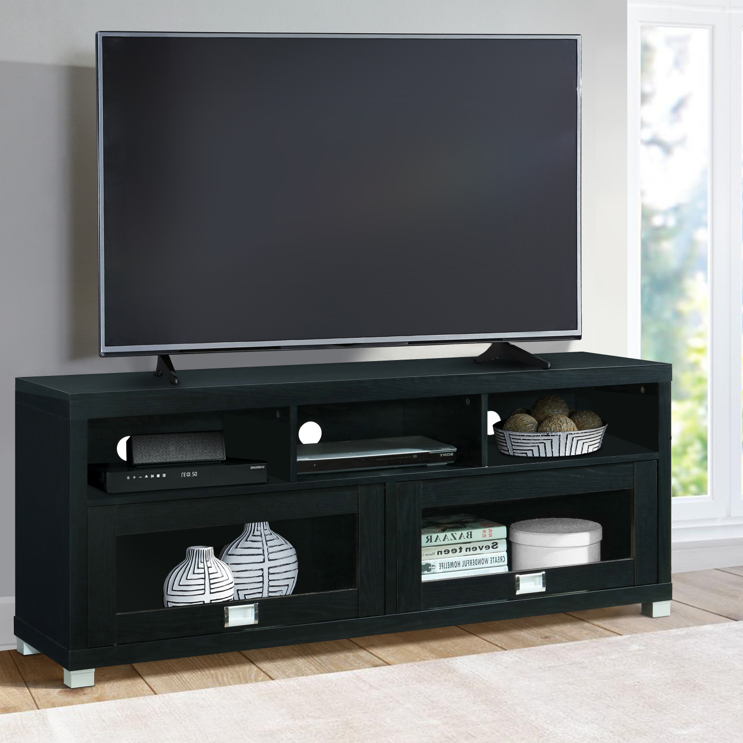 """Tv Stand Entertainment Table Wood Finish Furniture 58 Inch In Chrissy Tv Stands For Tvs Up To 75"""" (View 2 of 20)"""