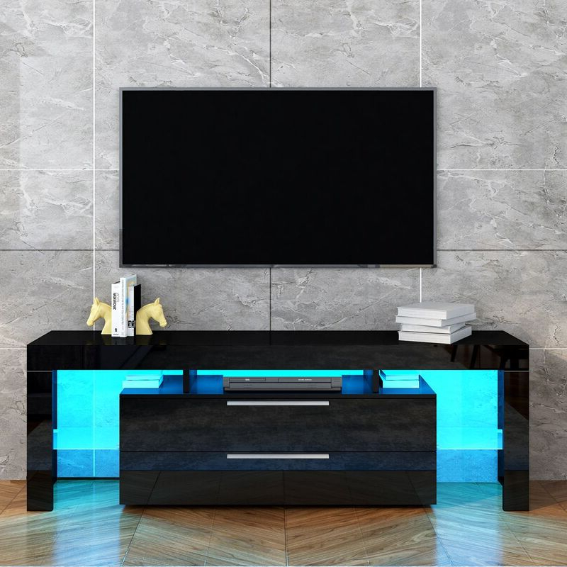 Tv Stand Entertainment Unit 2 Drawers Storage Cabinet Wood Throughout Dillon Black Tv Unit Stands (View 10 of 20)
